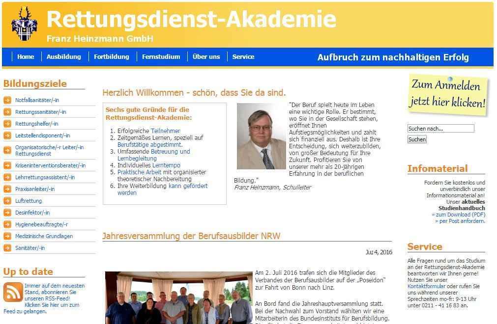 """Screenshot der ehemaligen Kundenwebseite """"Rettungsdienst-Akademie Franz Heinzmann GmbH"""""""