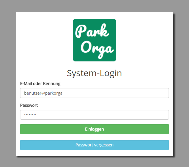 "Login in die Anwendung ""ParkOrga"""