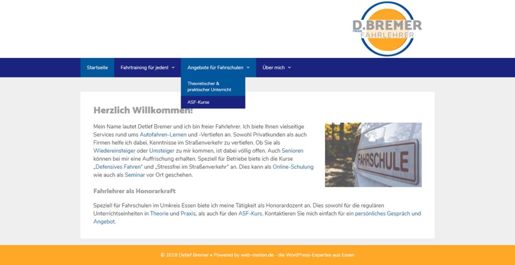 Screenshot Kundenwebseite Detlef Bremer