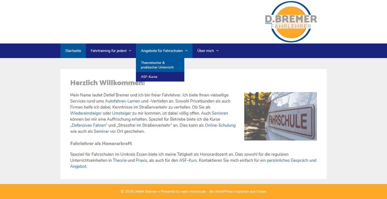 Erstellung und Betreuung einer WordPrss-Seite mit Theme aus dem Repository