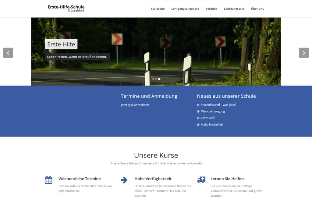Screenshot Kundenwebseite