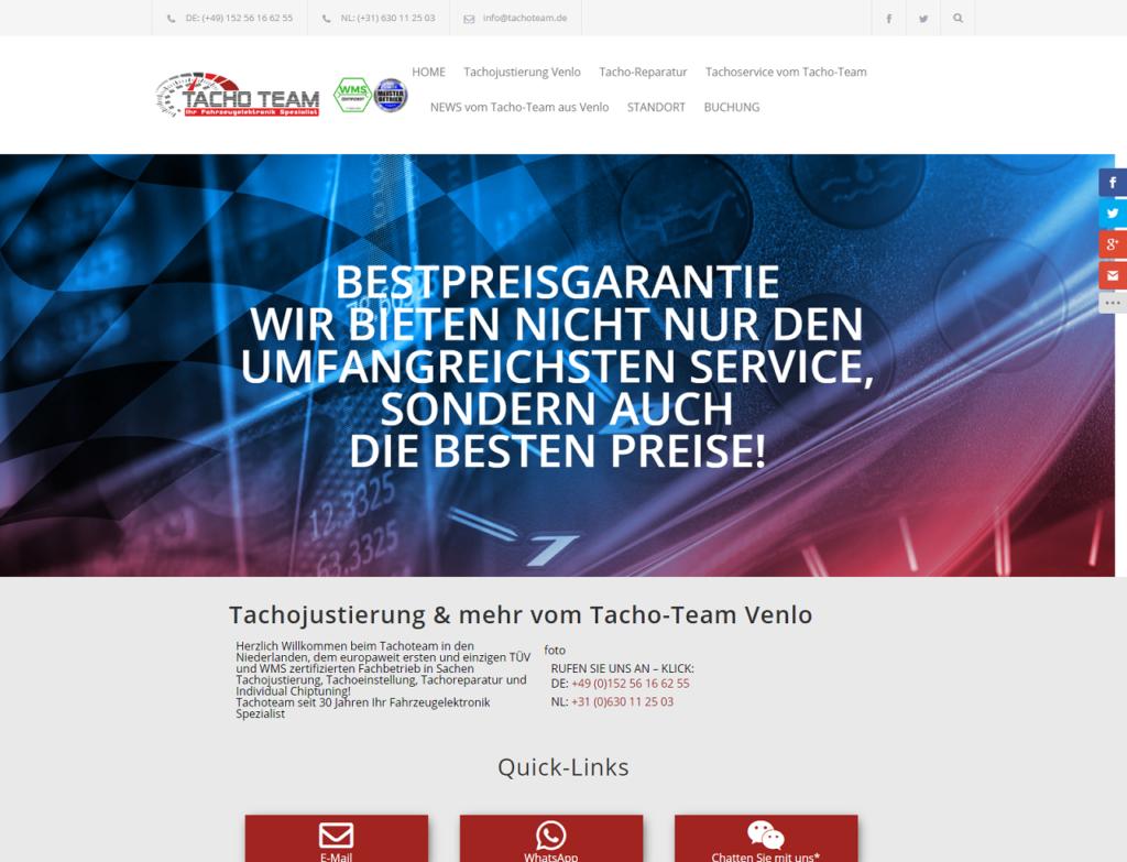 Kompletter Relaunch (Übernahme des havarierten Projektes): tachoteam.de